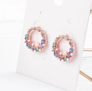 3/$23 Floral Wreath Crystal Rose Gold Earrings